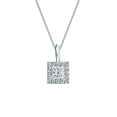 14k White Gold Certified Princess-Cut Diamond Halo Pendant 0.38 ct. tw. (I-J, I1-I2)