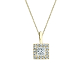 14k Yellow Gold Certified Princess-Cut Diamond Halo Pendant 0.38 ct. tw. (G-H, VS2)