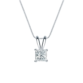 18k White Gold 4-Prong Basket Certified Princess-Cut Diamond Solitaire Pendant 0.50 ct. tw. (I-J, I1-I2)