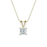 14k Yellow Gold 4-Prong Basket Certified Princess-Cut Diamond Solitaire Pendant 0.50 ct. tw. (I-J, I1-I2)