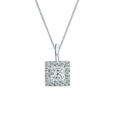 14k White Gold Certified Princess-Cut Diamond Halo Pendant 0.50 ct. tw. (I-J, I1-I2)