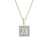 14k Yellow Gold Certified Princess-Cut Diamond Halo Pendant 0.50 ct. tw. (G-H, VS2)