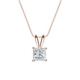 14k Rose Gold 4-Prong Basket Certified Princess-Cut Diamond Solitaire Pendant 0.63 ct. tw. (I-J, I1-I2)