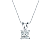 14k White Gold 4-Prong Basket Certified Princess-Cut Diamond Solitaire Pendant 0.63 ct. tw. (H-I, SI1-SI2)