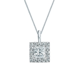 14k White Gold Certified Princess-Cut Diamond Halo Pendant 0.75 ct. tw. (H-I, SI1-SI2)