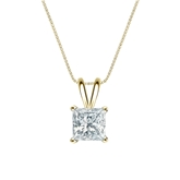 14k Yellow Gold 4-Prong Basket Certified Princess-Cut Diamond Solitaire Pendant 1.00 ct. tw. (I-J, I1-I2)