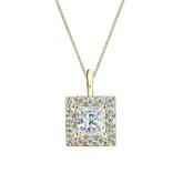 14k Yellow Gold Certified Princess-Cut Diamond Halo Pendant 1.00 ct. tw. (I-J, I1-I2)
