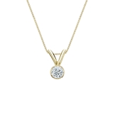 14k Yellow Gold Bezel Certified Round-Cut Diamond Solitaire Pendant 0.13 ct. tw. (I-J, I1)