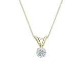 18k Yellow Gold 4-Prong Basket Certified Round-Cut Diamond Solitaire Pendant 0.17 ct. tw. (I-J, I1-I2)