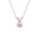 14k Rose Gold Bezel Certified Round-Cut Diamond Solitaire Pendant 0.17 ct. tw. (I-J, I1-I2)