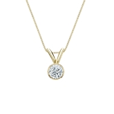 18k Yellow Gold Bezel Certified Round-Cut Diamond Solitaire Pendant 0.20 ct. tw. (I-J, I1-I2)
