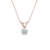 14k Rose Gold 4-Prong Basket Certified Round-Cut Diamond Solitaire Pendant 0.25 ct. tw. (H-I, SI1-SI2)