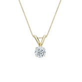 14k Yellow Gold 4-Prong Basket Certified Round-Cut Diamond Solitaire Pendant 0.25 ct. tw. (G-H, SI2)