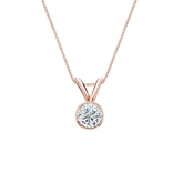 14k Rose Gold Bezel Certified Round-Cut Diamond Solitaire Pendant 0.25 ct. tw. (I-J, I1-I2)