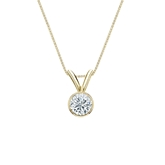 14k Yellow Gold Bezel Certified Round-Cut Diamond Solitaire Pendant 0.25 ct. tw. (I-J, I1)