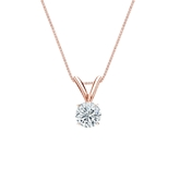 14k Rose Gold 4-Prong Basket Certified Round-Cut Diamond Solitaire Pendant 0.31 ct. tw. (H-I, SI1-SI2)