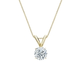 18k Yellow Gold 4-Prong Basket Certified Round-Cut Diamond Solitaire Pendant 0.38 ct. tw. (I-J, I1-I2)