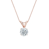 14k Rose Gold 4-Prong Basket Certified Round-Cut Diamond Solitaire Pendant 0.50 ct. tw. (I-J, I1-I2)