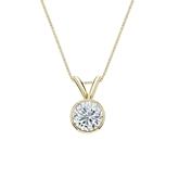 18k Yellow Gold Bezel Certified Round-Cut Diamond Solitaire Pendant 0.50 ct. tw. (G-H, VS1-VS2)