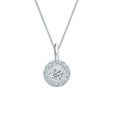 14k White Gold Certified Round-Cut Diamond Halo Pendant 0.50 ct. tw. (H-I, SI1-SI2)