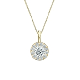 18k Yellow Gold Certified Round-Cut Diamond Halo Pendant 0.50 ct. tw. (I-J, I1-I2)