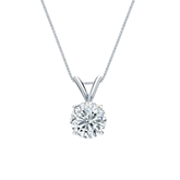 14k White Gold 4-Prong Basket Certified Round-Cut Diamond Solitaire Pendant 0.75 ct. tw. (I-J, I1-I2)