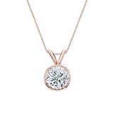 14k Rose Gold Bezel Certified Round-Cut Diamond Solitaire Pendant 0.75 ct. tw. (I-J, I1-I2)