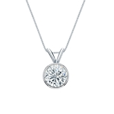 14k White Gold Bezel Certified Round-Cut Diamond Solitaire Pendant 0.75 ct. tw. (I-J, I1-I2)