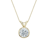 14k Yellow Gold Bezel Certified Round-Cut Diamond Solitaire Pendant 0.75 ct. tw. (I-J, I1-I2)