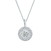 14k White Gold Certified Round-Cut Diamond Halo Pendant 0.75 ct. tw. (G-H, VS1-VS2)