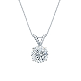 14k White Gold 4-Prong Basket Certified Round-Cut Diamond Solitaire Pendant 0.88 ct. tw. (H-I, SI1-SI2)
