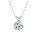 14k White Gold Bezel Certified Round-Cut Diamond Solitaire Pendant 0.88 ct. tw. (H-I, SI1-SI2)
