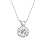 18k White Gold Bezel Certified Round-Cut Diamond Solitaire Pendant 1.00 ct. tw. (I-J, I1-I2)