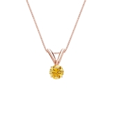 14k Rose Gold 4-Prong Basket Certified Round-cut Yellow Diamond Solitaire Pendant 0.17 ct. tw. (SI1-SI2)