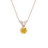 14k Rose Gold 4-Prong Basket Certified Round-cut Yellow Diamond Solitaire Pendant 0.25 ct. tw. (SI1-SI2)