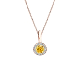 14k Rose Gold Halo Certified Round-cut Yellow Diamond Solitaire Pendant 0.25 ct. tw. (SI1-SI2)