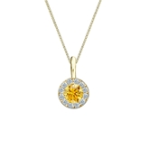 18k Yellow Gold Halo Certified Round-cut Yellow Diamond Solitaire Pendant 0.38 ct. tw. (SI1-SI2)