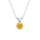 14k White Gold 4-Prong Basket Certified Round-cut Yellow Diamond Solitaire Pendant 0.50 ct. tw. (SI1-SI2)