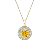 18k Yellow Gold Halo Certified Round-cut Yellow Diamond Solitaire Pendant 0.75 ct. tw. (SI1-SI2)
