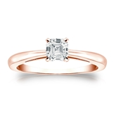 Certified 14k Rose Gold 4-Prong Asscher Diamond Solitaire Ring 0.50 ct. tw. (G-H, VS1-VS2)
