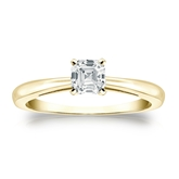 Certified 18k Yellow Gold 4-Prong Asscher Diamond Solitaire Ring 0.50 ct. tw. (H-I, SI1-SI2)