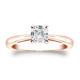 Certified 14k Rose Gold 4-Prong Asscher Diamond Solitaire Ring 0.75 ct. tw. (I-J, I1-I2)