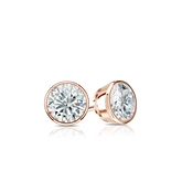 Certified 14k Rose Gold Bezel Round Diamond Stud Earrings 0.33 ct. tw. (H-I, SI1-SI2)