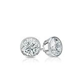 Certified 14k White Gold Bezel Round Diamond Stud Earrings 0.33 ct. tw. (J-K, I2)