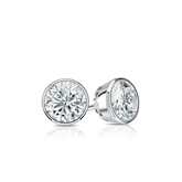 Certified 14k White Gold Bezel Round Diamond Stud Earrings 0.40 ct. tw. (I-J, I1)