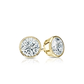 Certified 14k Yellow Gold Bezel Round Diamond Stud Earrings 0.40 ct. tw. (I-J, I1)