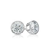 Certified Platinum Bezel Round Diamond Stud Earrings 0.50 ct. tw. (I-J, I1)