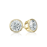 Certified 18k Yellow Gold Bezel Round Diamond Stud Earrings 0.62 ct. tw. (I-J, I1)