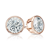 Certified 14k Rose Gold Bezel Round Diamond Stud Earrings 1.25 ct. tw. (I-J, I1)
