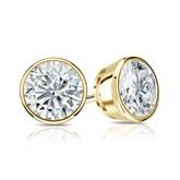 Certified 18k Yellow Gold Bezel Round Diamond Stud Earrings 1.25 ct. tw. (G-H, VS1-VS2)